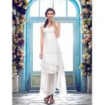 Sheath/Column Plus Sizes Wedding Dress - Ivory Asymmetrical V-neck Chiffon Wedding Dresses