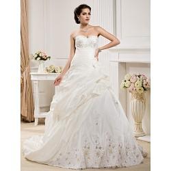 Ball Gown Plus Sizes Wedding Dress Ivory Court Train Sweetheart Taffeta