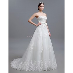 A Line Sweep Brush Train Wedding Dress Strapless Tulle