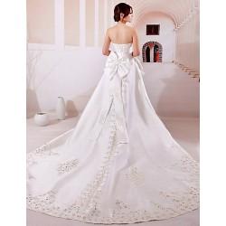Ball Gown Wedding Dress - White Chapel Train Strapless Satin