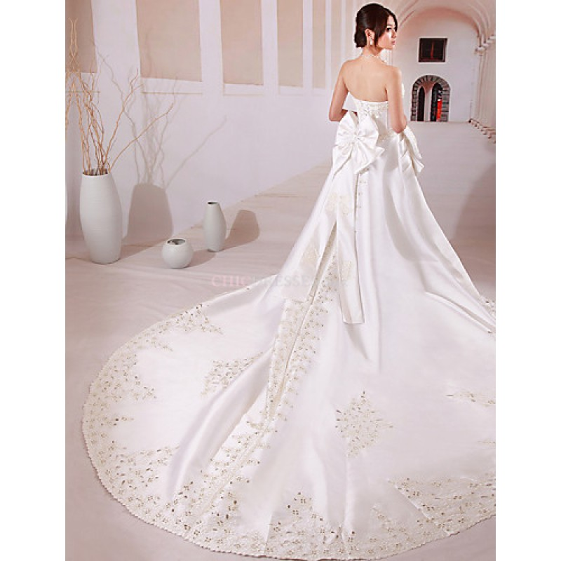 Ball Gown Wedding Dresses Uk: White Chapel Train Strapless