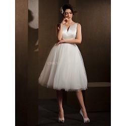 Ball Gown Wedding Dress Ivory Knee Length V Neck Satin Tulle