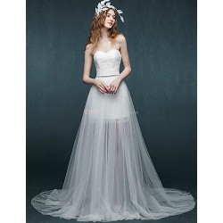 Sheath Column Short Mini Wedding Dress Sweetheart Lace