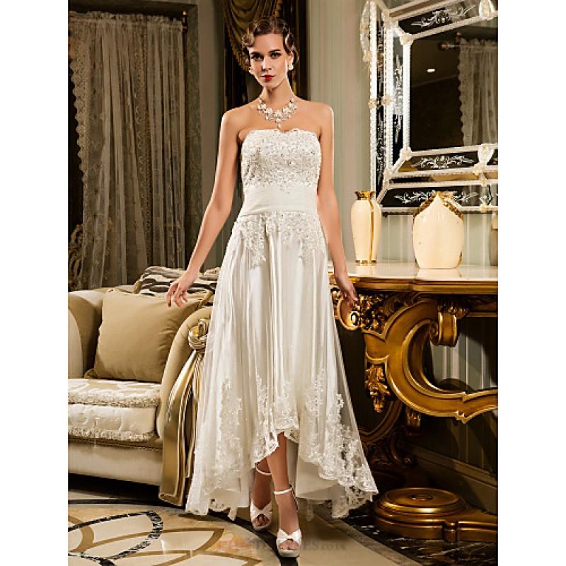 A Line Petite Plus Sizes Wedding Dress Ivory Asymmetrical Strapless Tulle Cheap Uk Dresses Online Shop Chicdresses Co Uk,Wedding Dress Styles With Sleeves