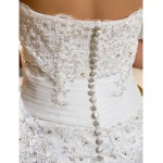 A-line Petite / Plus Sizes Wedding Dress - Ivory Asymmetrical Strapless Tulle Wedding Dresses