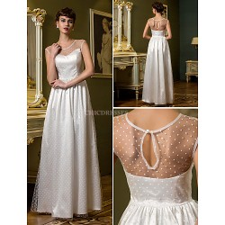 Sheath/Column Wedding Dress - Ivory Floor-length Scoop Tulle