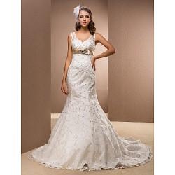 Trumpet Mermaid Plus Sizes Wedding Dress White Court Train V Neck Satin