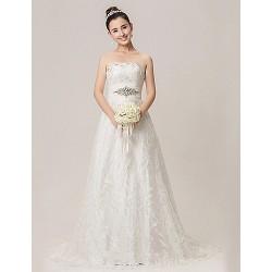 A-line Wedding Dress - White Court Train Strapless Lace