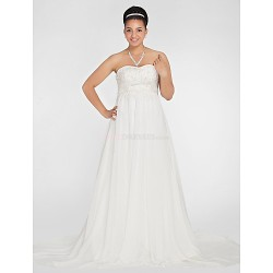 A Line Princess Plus Sizes Wedding Dress White Court Train Sweetheart Chiffon