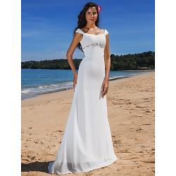 Sheath/Column Plus Sizes Wedding Dress - Ivory Sweep/Brush Train Scoop Chiffon