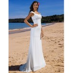 Sheath/Column Plus Sizes Wedding Dress - Ivory Sweep/Brush Train Scoop Chiffon Wedding Dresses