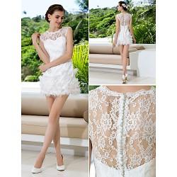 Sheath/Column Plus Sizes Wedding Dress - Ivory Short/Mini Jewel Lace