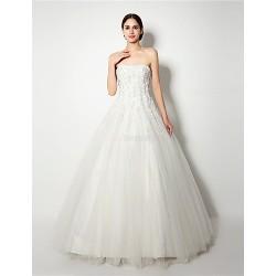 A-line Wedding Dress - White Floor-length Strapless Tulle