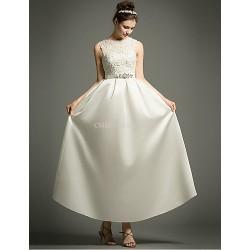 A Line Ankle Length Wedding Dress Bateau Satin