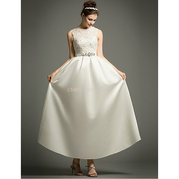 A-line Ankle-length Wedding Dress -Bateau Satin Wedding Dresses