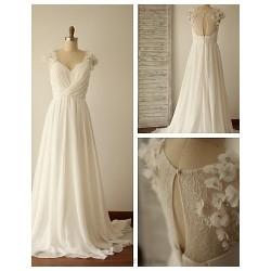 A Line Wedding Dress Ivory Sweep Brush Train V Neck Chiffon Lace