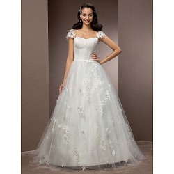 Ball Gown Plus Sizes Wedding Dress - Ivory Court Train Square Tulle
