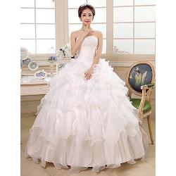 Princess Ball Gown Wedding Dress Ivory Floor Length Strapless Organza