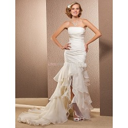 Trumpet/Mermaid Plus Sizes Wedding Dress - Ivory Asymmetrical Strapless Organza