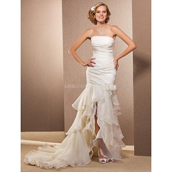 Trumpet/Mermaid Plus Sizes Wedding Dress - Ivory Asymmetrical Strapless Organza Wedding Dresses