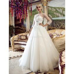 A-line/Princess Wedding Dress - Ivory Court Train Bateau Tulle