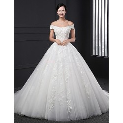 Ball Gown Wedding Dress White Chapel Train Off The Shoulder Lace