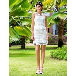 Sheath Column Plus Sizes Wedding Dress Ivory Short Mini Jewel Chiffon Tulle