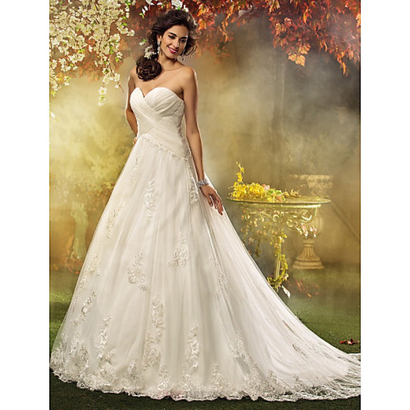 66e5079f917 A-line   Princess Petite   Plus Sizes Wedding Dress - Ivory Court Train  Sweetheart