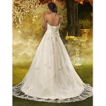 A-line / Princess Petite / Plus Sizes Wedding Dress - Ivory Court Train Sweetheart Tulle Wedding Dresses