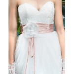 A-line Maternity Wedding Dress - Ivory Sweep/Brush Train Sweetheart Tulle/Lace Wedding Dresses