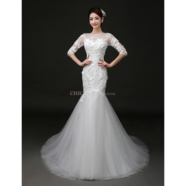 Trumpet/Mermaid Court Train Wedding Dress -Bateau Tulle Wedding Dresses