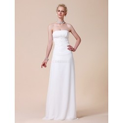 Sheath/Column Plus Sizes Wedding Dress - White Floor-length Strapless Chiffon