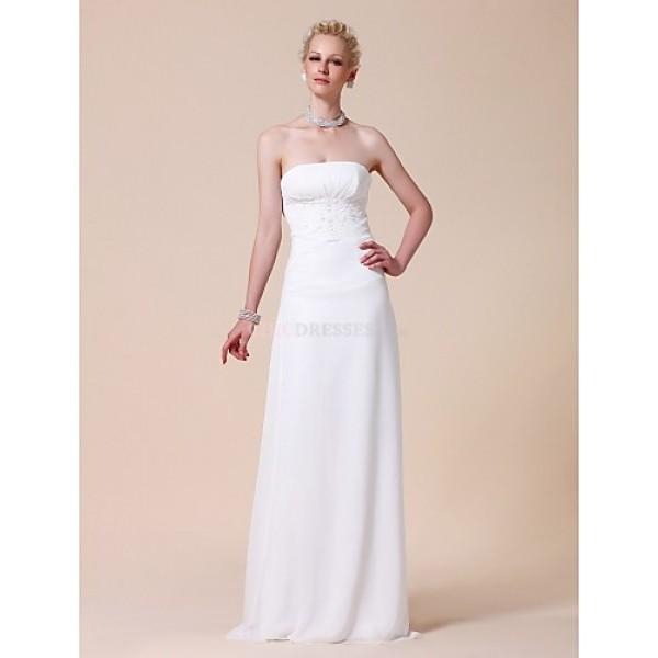 Sheath/Column Plus Sizes Wedding Dress - White Floor-length Strapless Chiffon Wedding Dresses