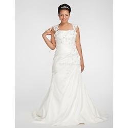 Trumpet/Mermaid Plus Sizes Wedding Dress - White Chapel Train Square Chiffon