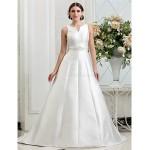 A-line/Princess Plus Sizes Wedding Dress - Ivory Chapel Train V-neck Satin Wedding Dresses