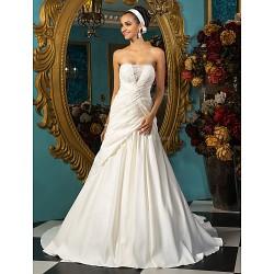 A-line Plus Sizes Wedding Dress - Ivory Court Train Strapless Satin
