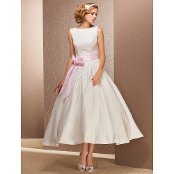 Princess Petite / Plus Sizes Wedding Dress - Ivory Tea-length Bateau Satin