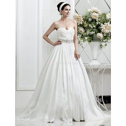 A Line Princess Plus Sizes Wedding Dress Ivory Court Train Sweetheart Taffeta