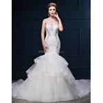 Trumpet/Mermaid Wedding Dress - White Chapel Train Scoop Lace/Tulle/Charmeuse Wedding Dresses