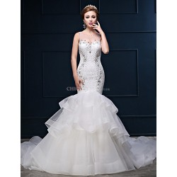 Trumpet Mermaid Wedding Dress White Chapel Train Scoop Lace Tulle Charmeuse