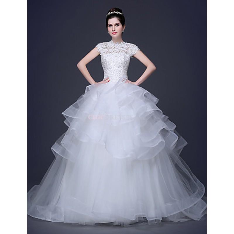 Cheap Wedding Gowns Uk: Ball Gown Wedding Dress High Neck Lace/Tulle,Cheap Uk