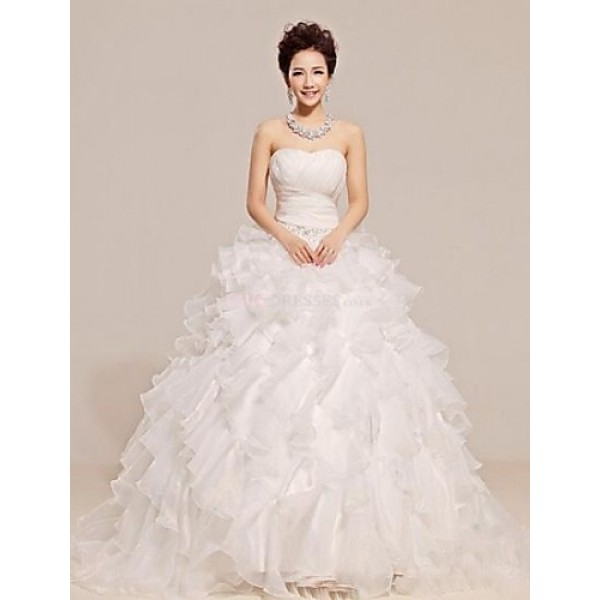 A Line Court Train Wedding Dress Strapless Tulle