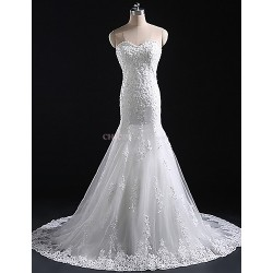 Trumpet/Mermaid Wedding Dress Court Train Sweetheart Tulle