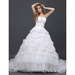 Ball Gown Wedding Dress Ivory Chapel Train Strapless Tulle