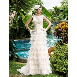 Sheath Column Wedding Dress Champagne Court Train Bateau Organza