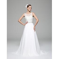 A-line Wedding Dress - White Chapel Train Scoop Chiffon / Lace