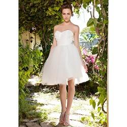 Ball Gown Plus Sizes Wedding Dress Ivory Knee Length Sweetheart Taffeta Tulle