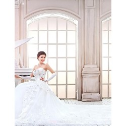 A Line,Princess Cathedral Train Wedding Dress Strapless Tulle