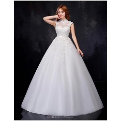 Ball Gown Wedding Dress - White Floor-length High Neck Organza