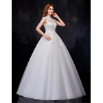 Ball Gown Wedding Dress - White Floor-length High Neck Organza Wedding Dresses